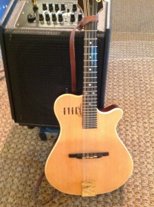 Godin electric mandolin with Jazzkat Tomkat amplifier